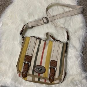 Yellow Fossil multi stripe canvas shoulder bag